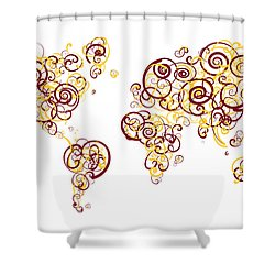 University Of Minnesota Twin Cities Colors Swirl Map Of The Worl Shower Curtain by Jurq Studio