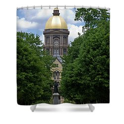 University Of Notre Dame Golden Dome Shower Curtain by Sally Weigand