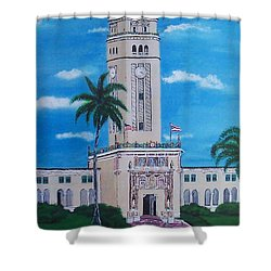 University Of Puerto Rico Tower Shower Curtain by Luis F Rodriguez