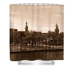 University Of Tampa With River - Sepia Shower Curtain by Carol Groenen
