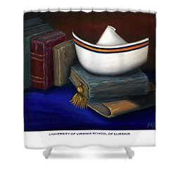 Shower Curtain featuring the painting University Of Virginia School Of Nursing by Marlyn Boyd