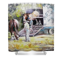 Unloading The Clydesdales Shower Curtain