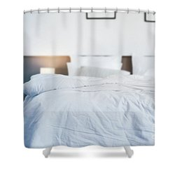 Unmade Bed Shower Curtain by Atiketta Sangasaeng