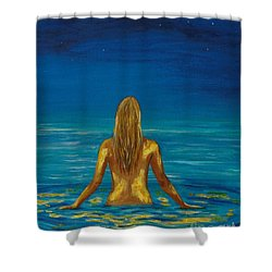 Shower Curtain featuring the painting Unmasking Series 1 by Leslie Allen