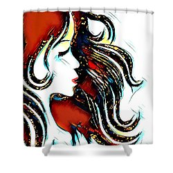 Shower Curtain featuring the digital art Unrestricted-abstract by Pennie McCracken