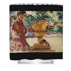 Shower Curtain featuring the painting Untitled by Baroquen Krafts