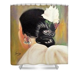 Untitled Dancer With White Flower Shower Curtain