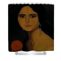 Untitled Woman With Orange Shower Curtain