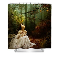 Up Above Where Non Can See Shower Curtain by Mary Hood