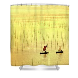 Up At Dawn. Shower Curtain