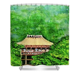 Shower Curtain featuring the painting Up High Temple by Yoshiko Mishina