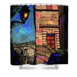 Shower Curtain featuring the painting Up On A Hill, Le Beaux, France by DC Langer