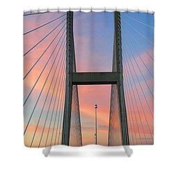 Up On The Bridge Shower Curtain by Kathryn Meyer