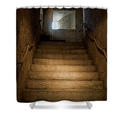 Up The Ancient Stairs Shower Curtain by Lorraine Devon Wilke