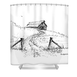Up The Hill To The Old Barn Shower Curtain