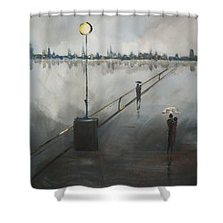 Upon The Boardwalk Shower Curtain by Raymond Doward