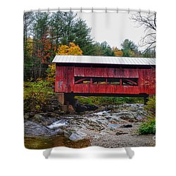 Upper Cox Brook Covered Bridge In Northfield Vermont Shower Curtain