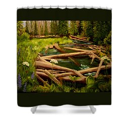 Shower Curtain featuring the painting Upper Deschutes by Nancy Jolley