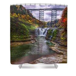 Upper Falls In Fall Shower Curtain