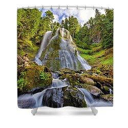 Upper Tier Of Falls Creek Falls In Summer Shower Curtain by David Gn
