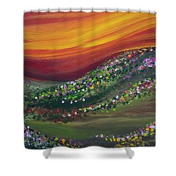 Ups And Downs Shower Curtain by Ashley Price