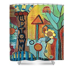 Uptown Dream World Shower Curtain by Susan Stone