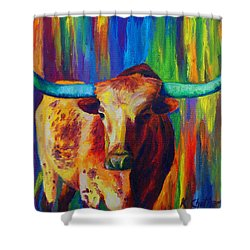 Shower Curtain featuring the painting Uptown Longhorn by Karen Kennedy Chatham