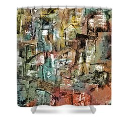 Shower Curtain featuring the mixed media Urban #6 by Kim Gauge