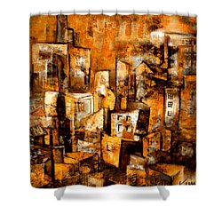 Shower Curtain featuring the mixed media Urban Abstract #1 by Kim Gauge