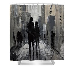 Urban Art Lovers Lane Modern Expressionist Painting Shower Curtain