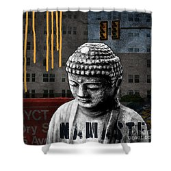 Urban Buddha  Shower Curtain by Linda Woods