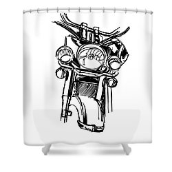 Urban Drawing Motorcycle Shower Curtain by Chad Glass