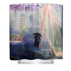 Shower Curtain featuring the painting Urban Life by Saundra Johnson
