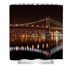 Urban Night Reflection Shower Curtain