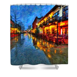 Urban Rain Reflections Shower Curtain