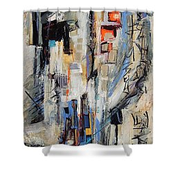 Shower Curtain featuring the painting Urban Street 2 by Mary Schiros