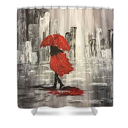 Urban Walk In The Rain Shower Curtain by Lucia Grilletto