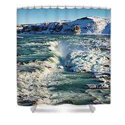 Urridafoss Waterfall Iceland Shower Curtain by Matthias Hauser