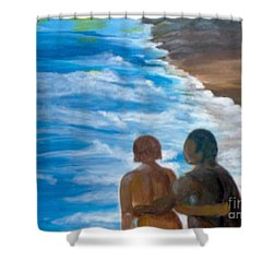 Shower Curtain featuring the painting Us Against The World by Saundra Johnson