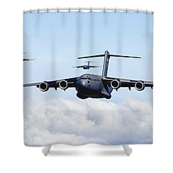Shower Curtain featuring the photograph U.s. Air Force C-17 Globemasters by Stocktrek Images