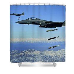 U.s. Air Force F-15e Strike Eagle Shower Curtain by Stocktrek Images