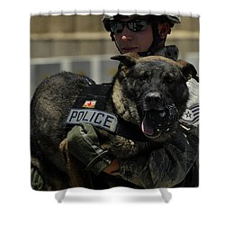 U.s. Air Force Soldier Giving Shower Curtain by Stocktrek Images