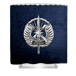 Shower Curtain featuring the digital art U.s. Air Force Tactical Air Control Party - Special Tactics Tacp Crest Over Blue Velvet by Serge Averbukh