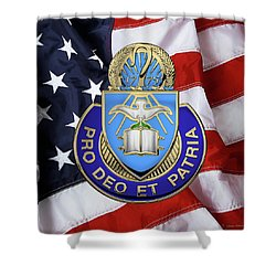 Shower Curtain featuring the digital art U.s. Army Chaplain Corps - Regimental Insignia Over American Flag by Serge Averbukh