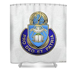 Shower Curtain featuring the digital art U.s. Army Chaplain Corps - Regimental Insignia Over White Leather by Serge Averbukh