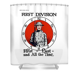 Shower Curtain featuring the painting Us Army First Division - Ww1 by War Is Hell Store