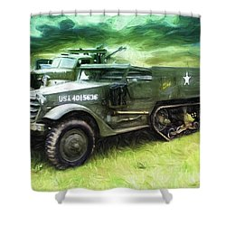 Shower Curtain featuring the painting U.s. Army Halftrack by Michael Cleere