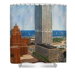 Us Bank And Sailboats Shower Curtain by Anita Burgermeister