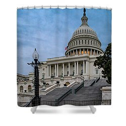 Shower Curtain featuring the photograph Us Capitol Building Twilight by Susan Candelario