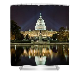 Us Capitol Night Panorama Shower Curtain